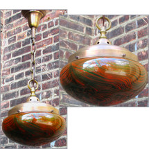 L12182 - Antique Arts and Crafts Ceiling Light Fixture with Art Glass