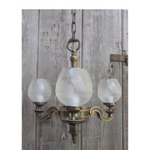 L12280 - Antique Colonial Revival Three Light Ceiling Fixture with Etched Shades