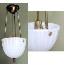 L12325 - Antique Neoclassical Milk Glass Bowl Shade Ceiling Light Fixture