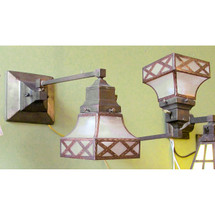 L12386 - Pair of Antique Arts and Crafts Wall Sconces with Faux Grain