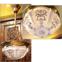 L13002 - Antique Ceiling Light Fixture with Blue and White Bowl Shade