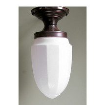 "L13078A -  Antique Art Deco FLush Mount Fixture with Milk Glass ""Bullet"" Shade"