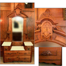F13093 Antique Renaissance Revival Style Walnut Vanity Dresser