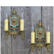 610042 - Pair of Antique Tudor Revival Two Candle Arm Wall Sconces
