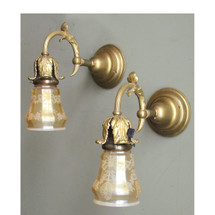 609419 - Pair of Antique Neoclassical Wall Sconces with Iridescent and Etched Shades