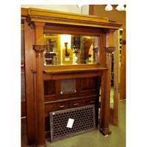 M13022 - Antique Late Victorian Birch Full Mantel with Beveled Mirror
