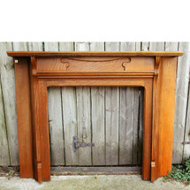 M13031 - Antique Art Nouveau Oak Half Mantel