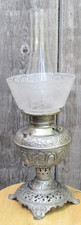 L13244 - Antique Late Victorian Kerosene Nickel Plated Table Lamp
