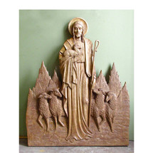 A13165 - Vintage Carving of Jesus Shepherding His Flock