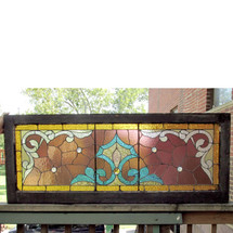 G13059 - Antique Late Victorian Stained and Jeweled Glass Window