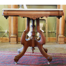 F13223 - Antique Renaissance Revival Walnut and Marble Center Table