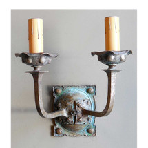 L14018 - Antique Arts and Crafts Double Candle Arm Sconce
