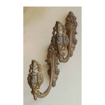 H14006 - Pair of Antique French Brass Curtain Tieback Hooks