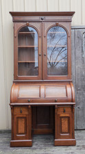 F14045 - Antique Renaissance Revival Walnut Cylinder Rolltop Secretary