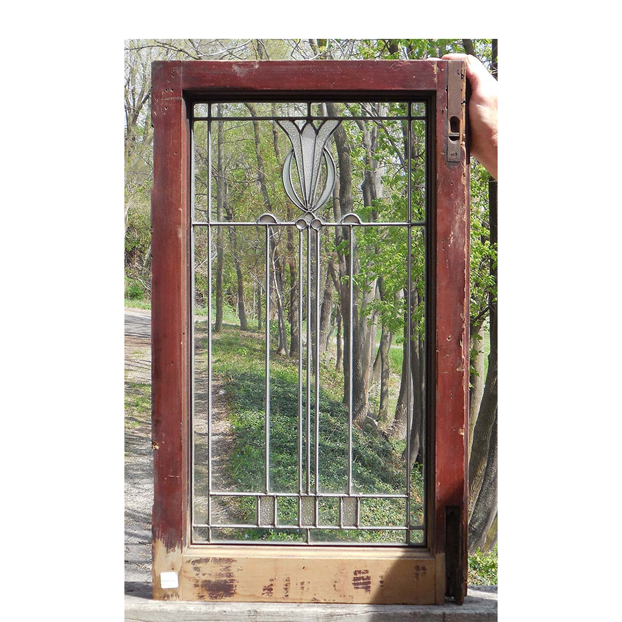 G14034 antique prairie style stained glass window for Prairie style window