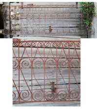 Overall view and close up of salvaged railing
