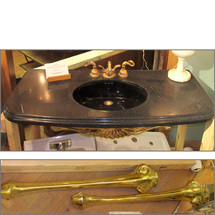 P14011 - Vintage Resin Sink with Brass Legs and Trim