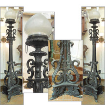 L14199 - Pair of Antique Neoclassical Cast Bronze Lamp Posts - Unrestored