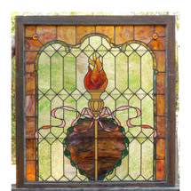 G14083 - Antique Colonial Revival Stained Glass Window