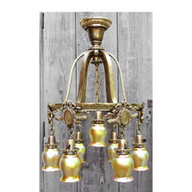 L14294 - Antique Colonial Revival Seven Light Art Glass Hanging Fixture