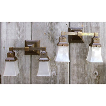 L14298 - Pair of Antique Arts and Crafts Double Arm Sconces