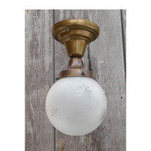L15015 - Antique Colonial Revival Flush Mount Wheelcut Light Fixture