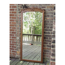 A15004 - Antique Late Victorian Oak Beveled Dressing Mirror