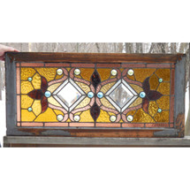 G15006 - Antique Queen Anne Stained and Beveled Glass Window