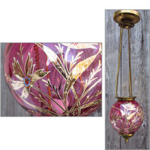 L15053 - Antique Victorian Cranberry Pendant Light Fixture