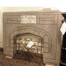 M15001 - Antique Tudor Revival Cast Concrete Half Mantel