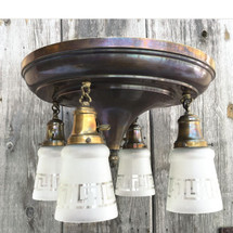 L15096 - Antique Colonial Revival Four Light Flush Mount Pan Fixture