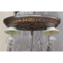 L15098 - Antique Two Light Bare Bulb Flush Mount Fixture