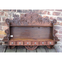 A15018 - Antique Late Victorian Spice Rack and Plate Shelf Unit