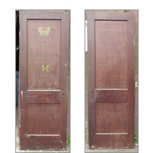 "D15044 - Single Antique Interior Two Panel Door 27-3/4"" x 80"""