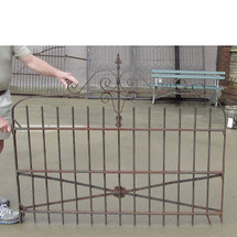 S15010 - Antique Early Revival Period Wrought Iron Driveway Gate