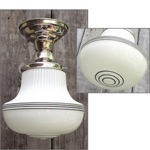 L15144 - Antique Art Deco Style Milk Glass Schoolhouse Flush Mount Fixture