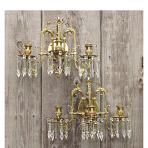 L15176 - Pair of Antiques Cast Brass & Crystal Three Arm Candle Sconces