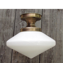 L15190 - Antique Art Deco Milk Glass Flush Mount Fixture