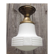 L15262 - Antique Art Deco Style Milk Glass Schoolhouse Flush Mount Fixture