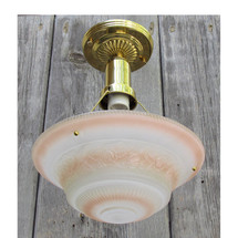 L15280 - Antique Art Moderne Ceiling Light Fixture With Bowl Shade