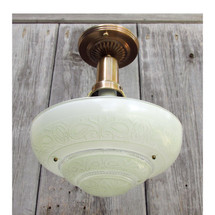 L15294 - Antique Art Moderne Ceiling Light Fixture With Bowl Shade