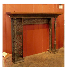 M15025 - Antique Elaborate Cast Iron Half Mantle with Oak Top