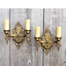 L15326 - Pair of Antique Tudor Revival Double Arm Candle Sconces