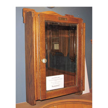 F15124 - Antique Oak Medicine Cabinet With Beveled Glass Mirror