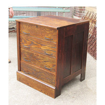 F15131 - Antique Industrial Oak and Steel Storage Cabinet