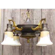 L16019 - Antique Colonial Revival Four Light Hanging Pan Fixture