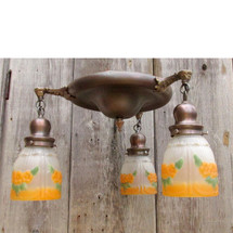 L16040 - Antique Colonial Revival Three Light Flush Mount Pan Fixture