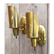 L16044 - Pair of Vintage Brass Mid Century Modern Sconces