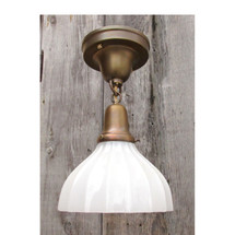 L16050 - Antique Brass Flush Mount Light Fixture with Clam Broth Glass Shades