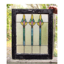 G16018 - Antique Arts and Crafts Stained Glass Window
